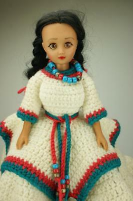 Vinyl Native American Indian Squaw Doll in Elaborate Hand Crocheted Dress SA260