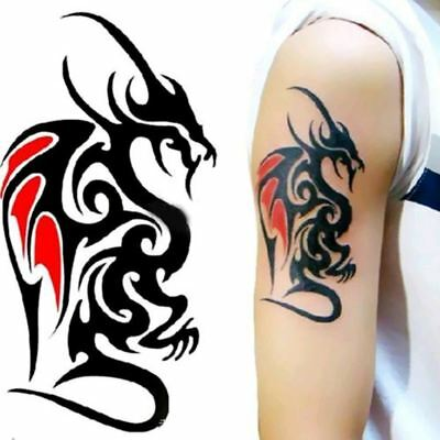 Waterproof Temporary Tattoo Sticker Of Body 10.5*6cm Cool Man Dragon Tattoo Tote