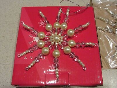 NEW-Snowflake Ornament- Pearl and Clear Beads-  Very Pretty!  In Box