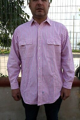 POLO JEANS VTG 90s Ralph Lauren Mens Casual Shirt Striped Pink Long Sleeveed L