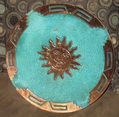 "Copper Wall Hanging Plate 10"" Medicine Plates New World Trading Light Paint Wear"