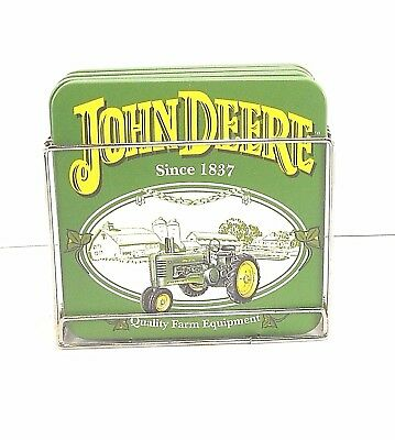 John Deere Coaster Set With Metal Holder