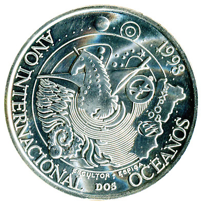 Portugal 1000 Escudos 1998. International year of the Oceans . UNC Silver Coin.