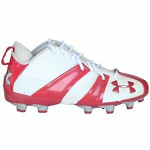 New Under Armour Demolition Mid MC Football Cleats - White/Red - Size  10