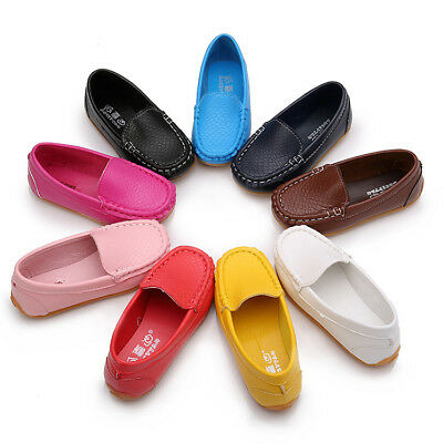Kid's Soft Loafers Boy Girls Oxford Flats Casual PU Boat  Slip On Shoes Toddler