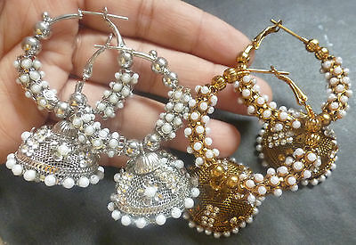 2 pairs Antique Gold & Antique SIlver Pearl Indian Ring Jhumka Earrings cc