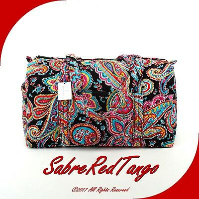 Nwt Vera Bradley Quilted Small Duffel Gym Travelling Bag Floral Parisian Paisley