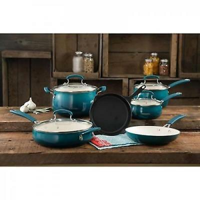 The Pioneer Woman Classic Belly 10-Piece Cookware Set OCEAN TEAL