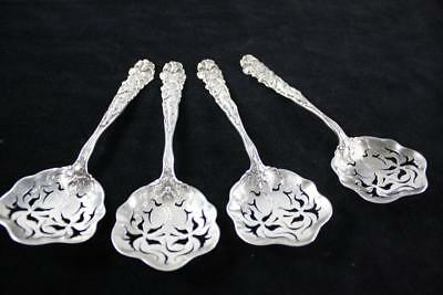 ANTIQUE ART NOUVEAU USA AMERICAN x4 STERLING SILVER TEA STRAINER SPOONS 164g