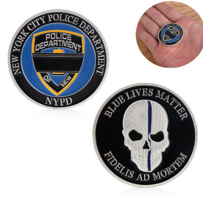 New York Police Blue Life Matter Skull Commemorative Coin Art Plating Collection