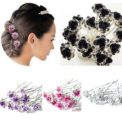 5 Pcs Rose Flower Crystal Wedding Party Bridal Prom Star Hair Pin Clips Exotic