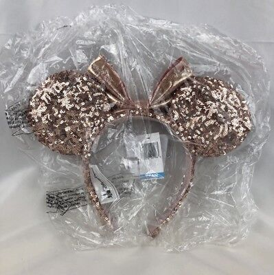 Disney Parks Disneyland Minnie Sequins Rose Gold Ears Headband Authentic New