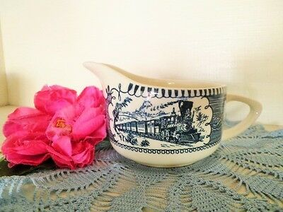 Vintage Milk Jug Blue & White Royal China Currier & Ives Usa Creamer Train **