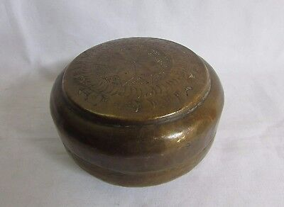 Vintage Old Handcrafted Engraved  Brass Small Sweet / Bread Box, Collectible