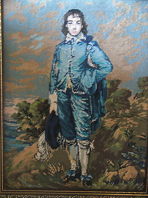 VINTAGE LONG STITCH TAPESTRY GAINSBOROUGH BLUE BOY ORNATE FRAME LARGE 72x57CM