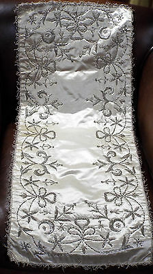 Antique Ottoman Islamic Cover Opulent Silver Metallic Embroidery