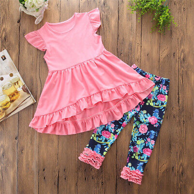 US Floral Toddler Kids Baby Girl Ruffle Top Dress Leggings Pants Outfits Clothes