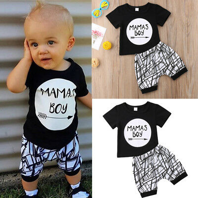 2Pcs Newborn Infant Baby MAMAS Boy Toddler T-shirt Tops+Pants Outfit Clothes Set
