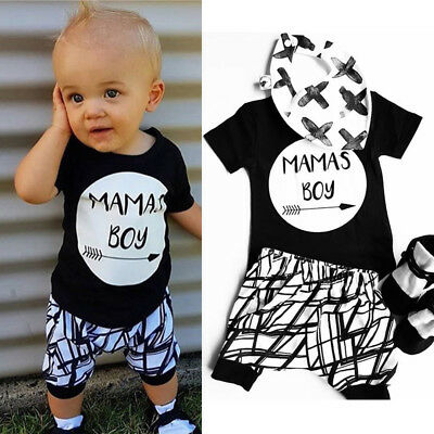 AU Newborn Infant Baby MAMAS Boy Toddler T-shirt Tops+Pants Outfit Clothes Sets