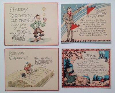 Vintage Post Cards/Cards - Lot of 4 - Birthday, Boy Scout, Girl Scout