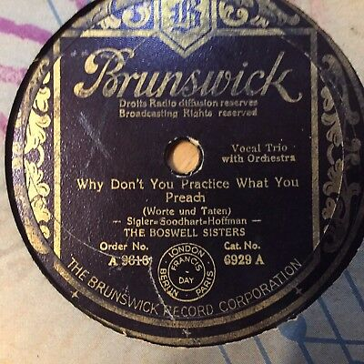 BOSSWELL SINGERS Why Don't You Practice What You Preach BRUNSWICK 6929