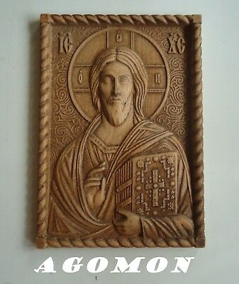 Wood carved Icon of Christ the Almighty, memorable religious gift, maple