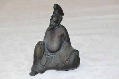 Rare Old Bronze Made Japanese Court Noble Seated Figure EMS Free Shipping