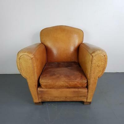 VINTAGE FRENCH CAMEL BROWN LEATHER CLUB CHAIR 20s 30s ART DECO #2203