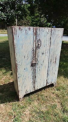 Antique  Primitive Hand Made Wood Jelly Cupboard, Storage Cabinet, Pie Safe