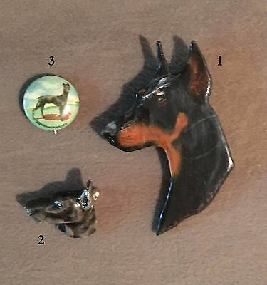 LOT of 3 Doberman Dog Pins Wood Ceramic Metal Vintage German OOAK