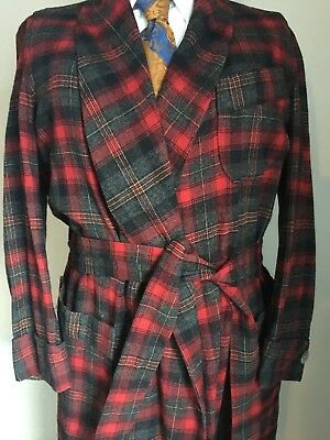 Men's Vtg 50's WOOL ROBE Shawl Collar Pendleton Sm Red Plaid MOP Buttons Belted