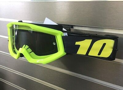 Youth 100% Motocross Offroad Strata MX Goggles Neon Yellow / Clear Lens