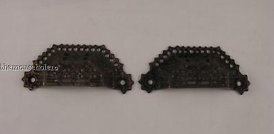 Pair of ornate antique cast metal lace edge drawer/bin pulls