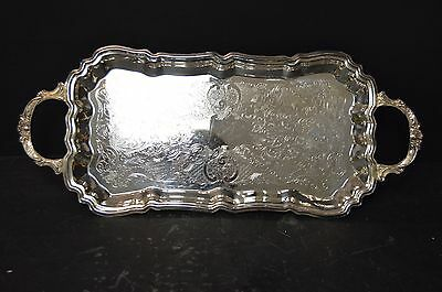 English Footed Silverplate Service Tray By Leonard Silver