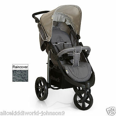 New Hauck Viper SLX 3 wheeler pram pushchair buggy in Smoke Grey+Raincover