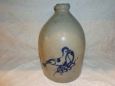 Antique Bird on a Branch Cobalt Blue Decorated Stoneware Pottery Jug, 2 Gallon