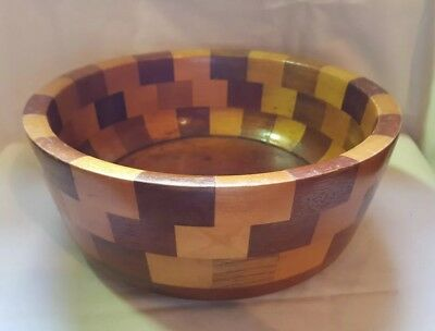 Vintage Wooden Inlaid Fruit Bowl 9.5""