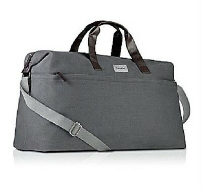 d653610486 Calvin Klein Grey Canvas Men Duffle Bag Weekender Travel Overnight Handbag