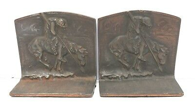 Antique Solid Cast Pair Bookends Soldier Knight Don Quixote Marked BronMet