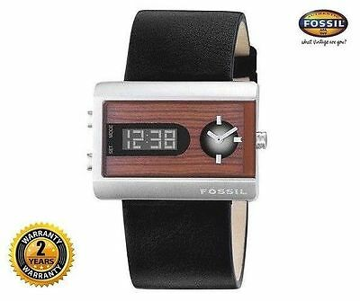 FOSSIL JR9449 Women Men Rectangle Digital Analog Watch Black Leather Wood Dial