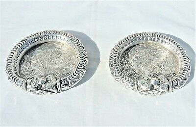 VINTAGE EGYPTIAN PAIR OF SMALL TRAYS SOLID SILVER ENGRAVED HALLMARKED 204 grams