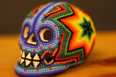 HUICHOL BEADED STAR SKULL - Day of the Dead - Mexican Folk Art - One Of A Kind