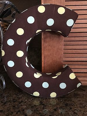 Pokodot Fabric Letter C To Hang On Wall Brown/Teal&Lime Green Pokodots PT-5.6