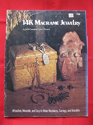 Vintage 1976 14K Macrame Jewelry Pattern Booklet Craft Publications