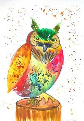 Colourful Owl, Original Watercolour painting, Size A3, By Casimira Mostyn
