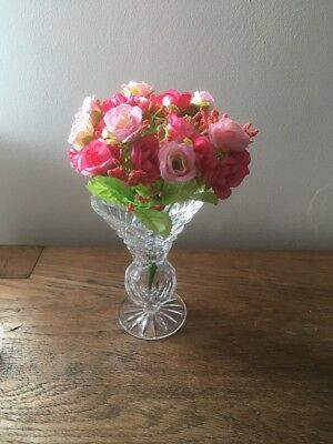 """Tyrone Crystal Vase 5 1/2"""" high Cappagh style Ectched Tyrone on bottom (68)"""