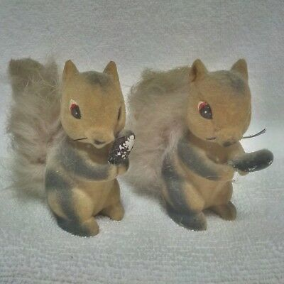 Vintage Pair of Fuzzy Flocked Gray Squirrels Furry Tail Figurine Japan