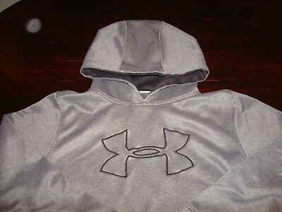 Under Armour Loose Pullover Hoodie Sweatshirt Youth Large Ylg Gray Black Nice