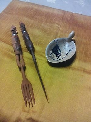 AFRICAN/TRIBAL VINTAGE ARTIFACTS:Handcrafted Wooden Knife & Fork +Soapstone Dish