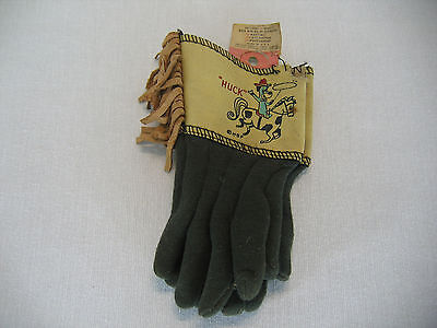 Vintage Huckleberry Hound Childs Cowboy Boys Toy Gloves With Tag Cartoon Dog